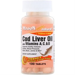 Mason Natural, Cod Liver Oil, with Vitamins A, C, & D, Chewable Artificial Orange Flavor, 100 Tablets